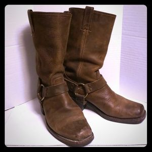 Frye Harness Tan Weathered Boots Square Toe 8.5 M